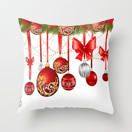 ORNATE HANGING RED CHISTMAS TREE DECORATIONS Throw Pillow