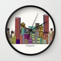miami Wall Clocks featuring Miami by bri.buckley