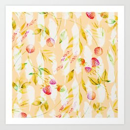 Spring Flowers and Feathers Pattern Art Print
