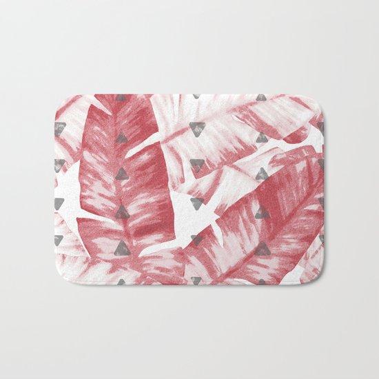 Dusty Rose Tropical Banana Leaves Arrows Design Bath Mat