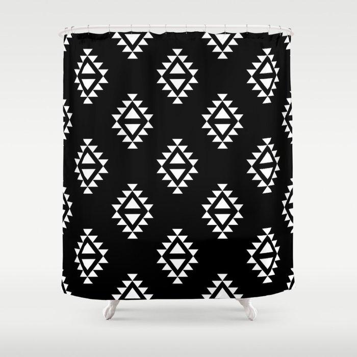 Linocut Southwest Minimal Pattern Black And White Print Scandinavian Minimalism Shower Curtain