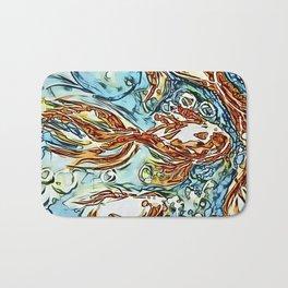 Bubbly Goldfish watercolor by CheyAnne Sexton Bath Mat