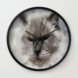 White Persian Cat In Watercolor Wall Clock