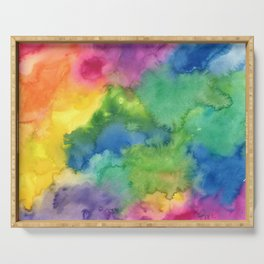 Bright Rainbow Watercolor Abstract Serving Tray