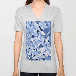 Cascading orchids - Blue Unisex V-Neck