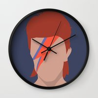 bowie Wall Clocks featuring Bowie by Zoebellsmith