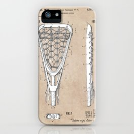 patent art Tucker Lacrosse stick 1967 iPhone Case