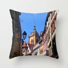 Beautiful Medieval City of Colmar Alsace France  Throw Pillow