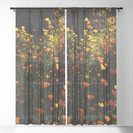 Beautiful garden flowers Sheer Curtain