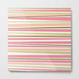 Modern watermelon colors stripes pattern  Metal Print
