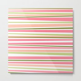 Modern watermelon colors stripes pattern Metal Print