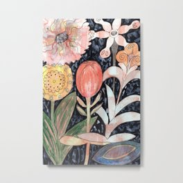 Mixed Flowers with Tulip on Black Metal Print