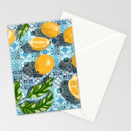 Sweet Morocco, Tropical Lemon Tiles Painting, Eclectic Summer Modern Bohemian Exotic Illustration Stationery Cards