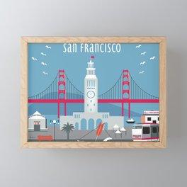 San Francisco, California - Skyline Illustration by Loose Petals Framed Mini Art Print