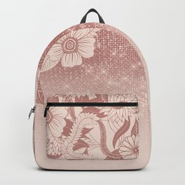 Chic Pink Rose Gold Floral Drawing Glitter Ombre Backpack
