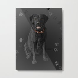 Black Labrador Retriever Paw Prints Metal Print