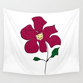 sketch of a red flower Wall Tapestry