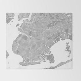 Brooklyn map grey Throw Blanket