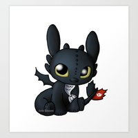 chibi Art Prints featuring Chibi Toothless by Katie Simpson a.k.a. Redhead-K