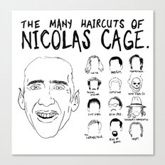 The Many Haircuts Of Nicolas Cage. Canvas Print