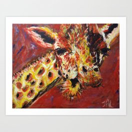 Chewing Giraffe Art Print