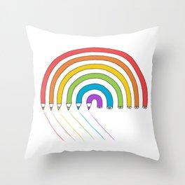 Pencil Rainbow Throw Pillow