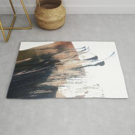 Clarity: a pretty, minimal abstract in rose gold and deep blue Rug
