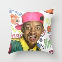 fresh prince Throw Pillows featuring Fresh Prince of Bel Air - Will Smith by Heather Buchanan