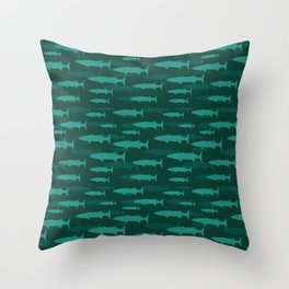 Barracuda Blue Fish Pattern Throw Pillow