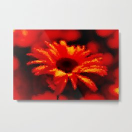 #Chamomile #red #background Metal Print