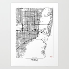 Miami Map White Art Print