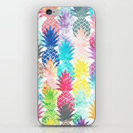 Hawaiian Pineapple Pattern Tropical Watercolor iPhone Skin