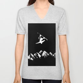 Rocky Mountain Snowboarder Catching Air Unisex V-Neck
