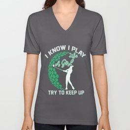 Golf golf ball golfer golf clubs green putts holes Unisex V-Neck
