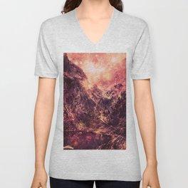 Galaxy Mountains : Mauve Burgundy Unisex V-Neck