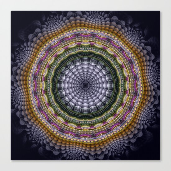 Mandala with optical effects and tribal patterns Canvas Print