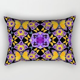 BLACK-GOLD-PURPLE BUTTERFLIES PANSY KALEIDOSCOPE Rectangular Pillow