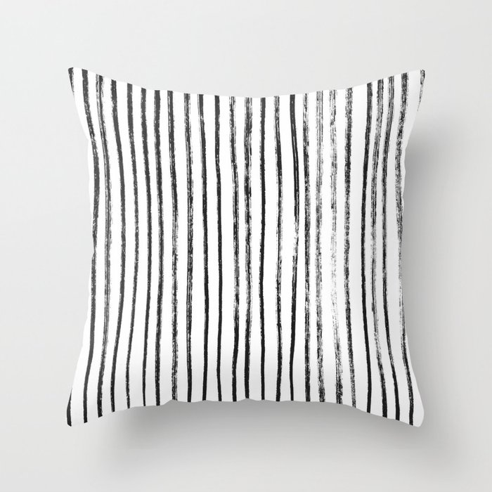 Black Dry Brush Line Pattern (Vertical) Throw Pillow by lacydermy