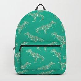 Floral T-Rex in Teal Backpack
