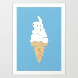 Icecream Bunny Art Print