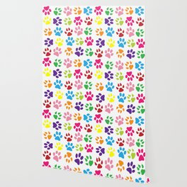 Dog Paws, Trails, Paw-prints - Red Blue Green Wallpaper