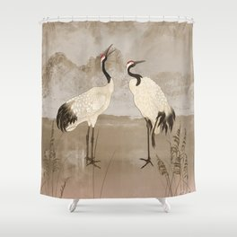 Wintering Manchurian Cranes Shower Curtain