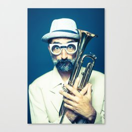 hipster before a jazz jam session Canvas Print