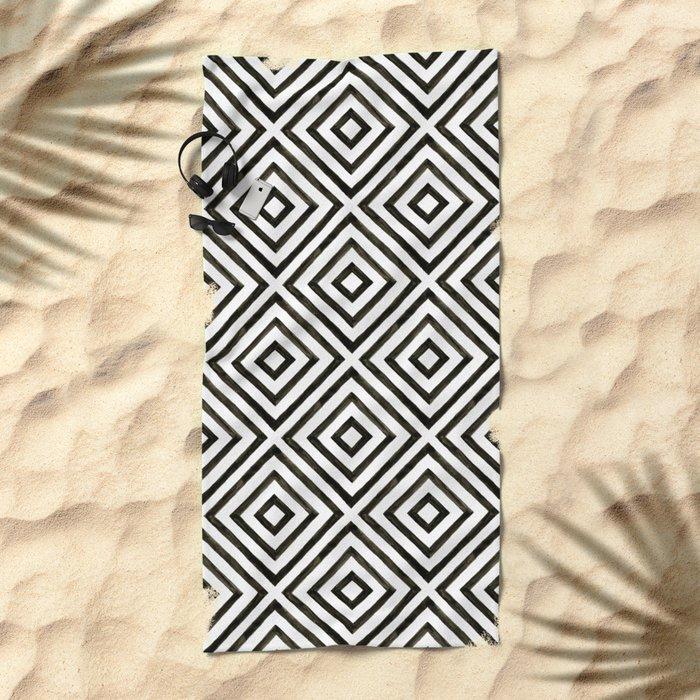 Black Ink Diamond Pattern Beach Towel