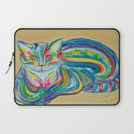 Hypnotic Rainbow Cat on neutral background Laptop Sleeve