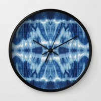 tie dye Wall Clocks featuring Tie Dye Blues Twos by Nina May Designs