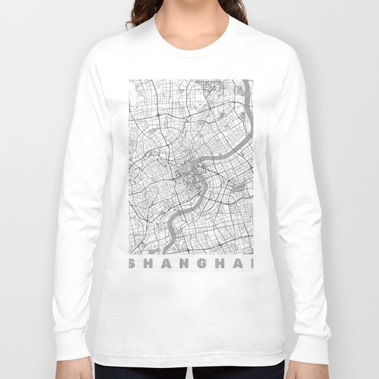 Shanghai Map Line Long Sleeve T-shirt