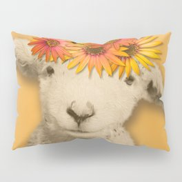 Daisies Sheep Girl Portrait, Mustard Yellow Texturized Background Pillow Sham