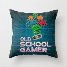 Old School Gamer Throw Pillow