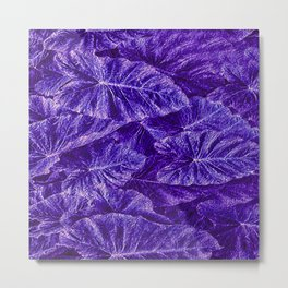 Purple Tropical Layered Leaves Metal Print